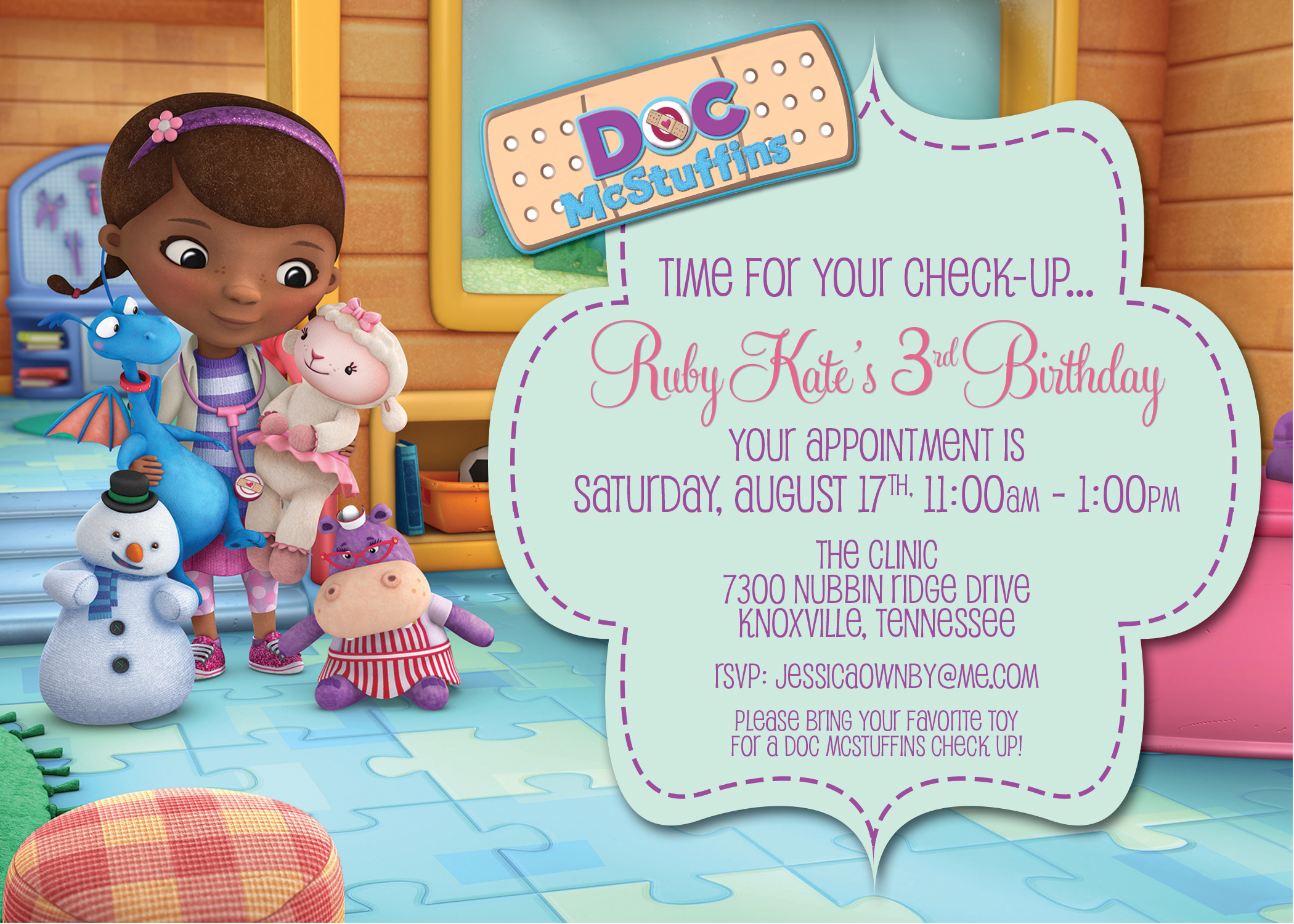 Doc Mcstuffins Party Invitations gangcraft